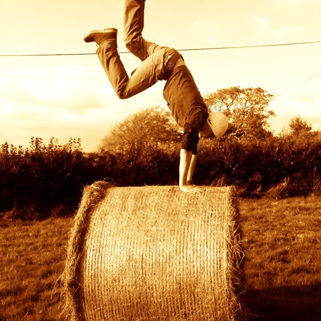 """""""Hay bale hand stand"""" stock image"""