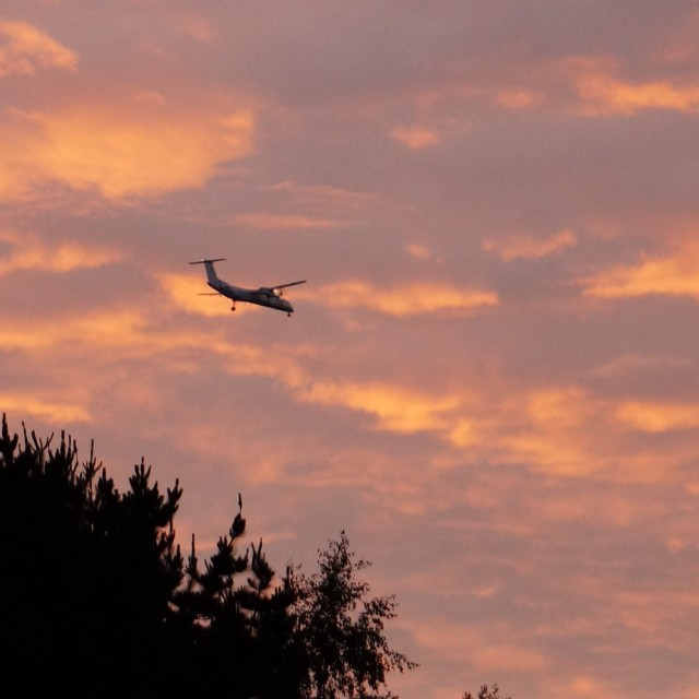 """""""Flying into the sunset"""" stock image"""