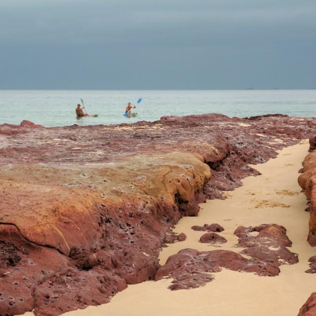 """""""Kayaks & red rocks"""" stock image"""