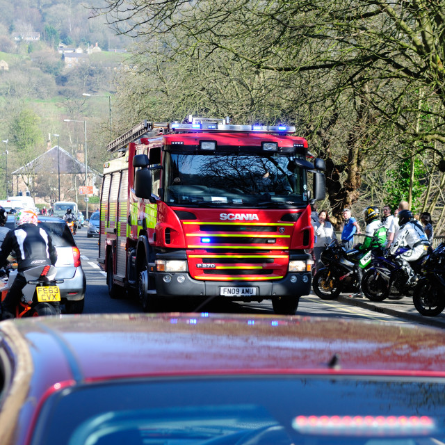 """""""Fire Engine Responding To 999 Call."""" stock image"""