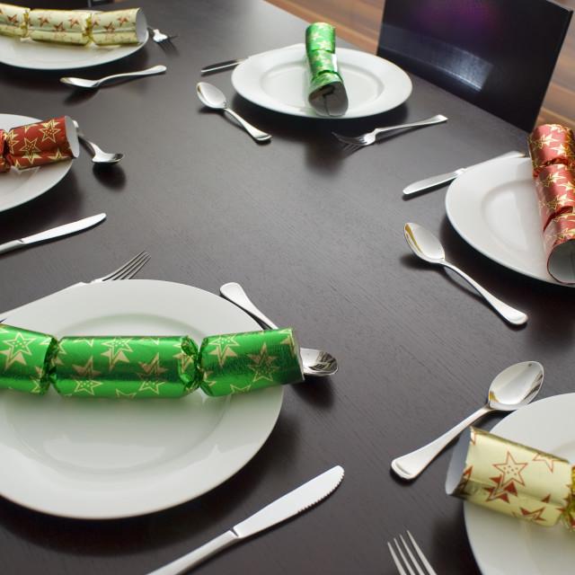 """christmas dinner table"" stock image"