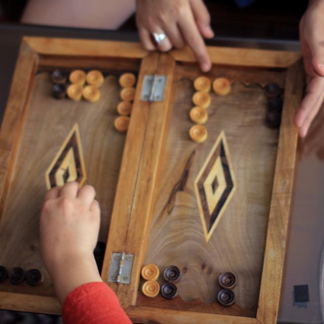 """People playing Backgammon"" stock image"