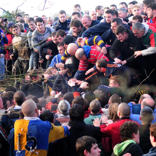 """""""Ashbourne Shrovetide Football ."""" stock image"""