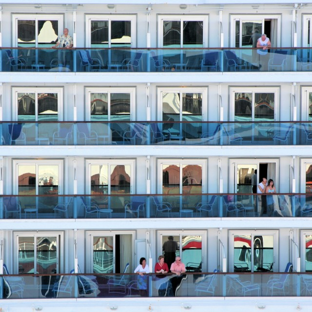 """Cruise ship balconies"" stock image"