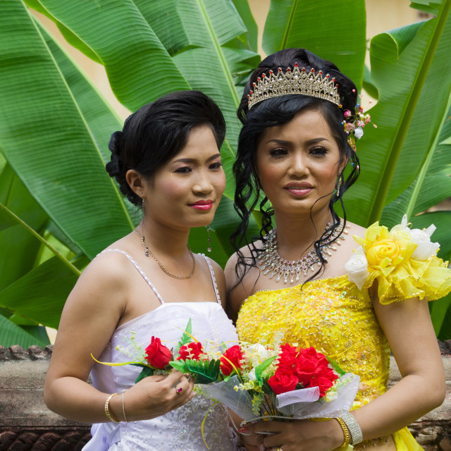 """Cambodian Bride with Bridesmaid"" stock image"