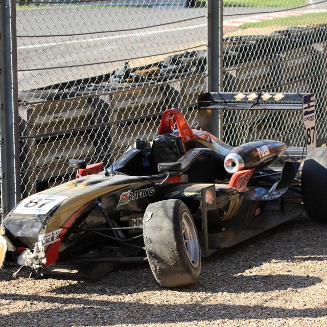 """Wrecked Car, British F3 Championship"" stock image"
