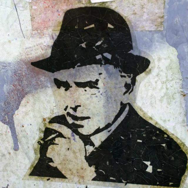 """Minder graffiti (a la Banksy)"" stock image"