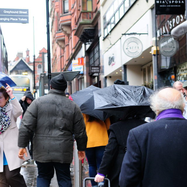 """""""Strong Wind And Rain Shoppers."""" stock image"""