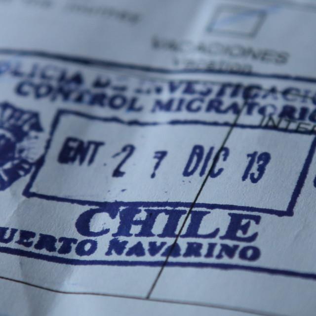"""Chile Passport Stamp"" stock image"