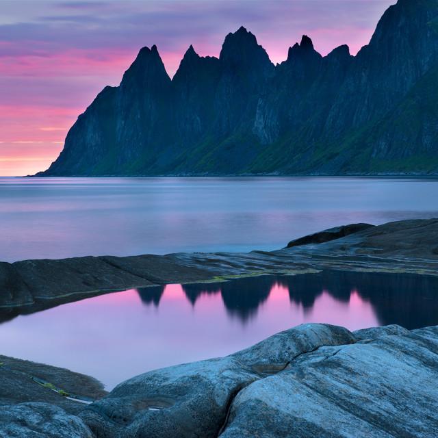"""The dawn on the island of Senja"" stock image"