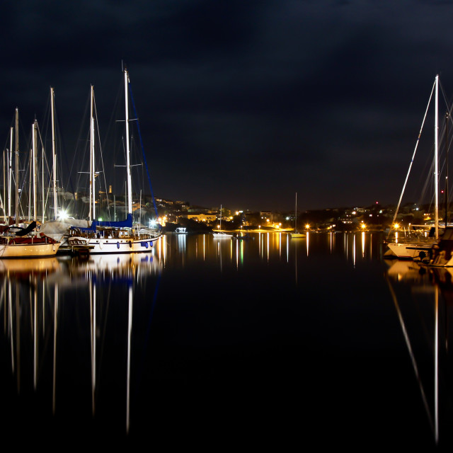 """Night in harbor"" stock image"
