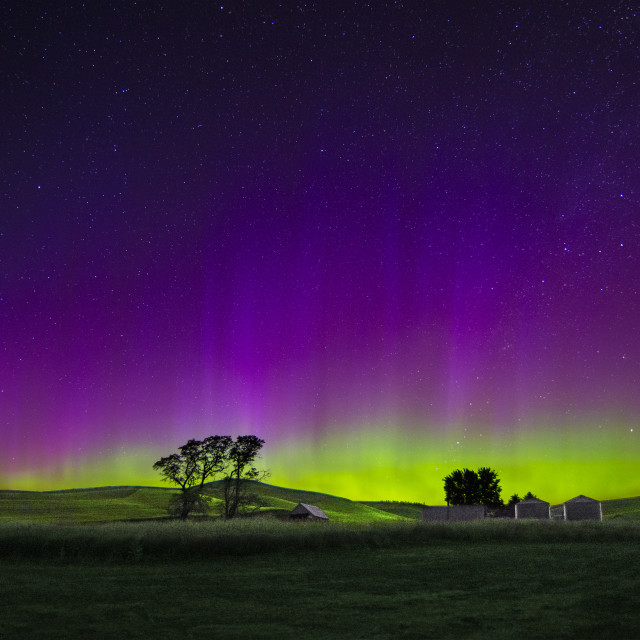 """Northern Lights over the Palouse"" stock image"