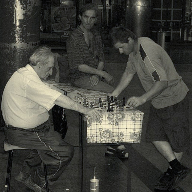 """Hungarian men playing chess"" stock image"