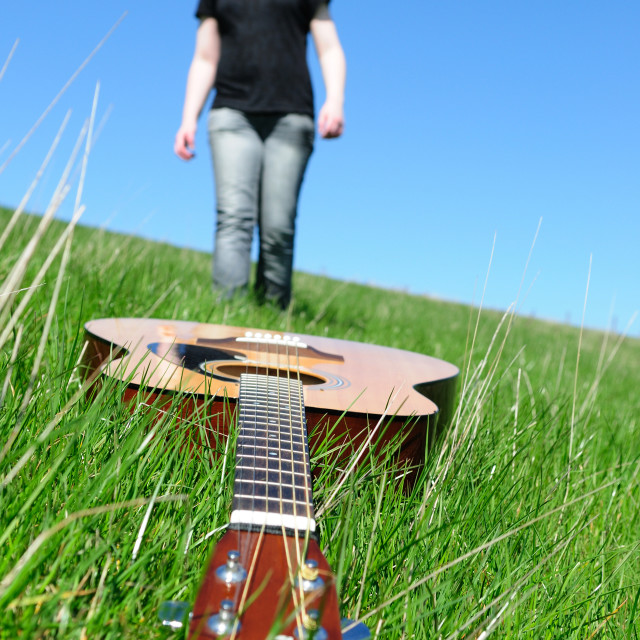 """Young Woman And Guitar"" stock image"