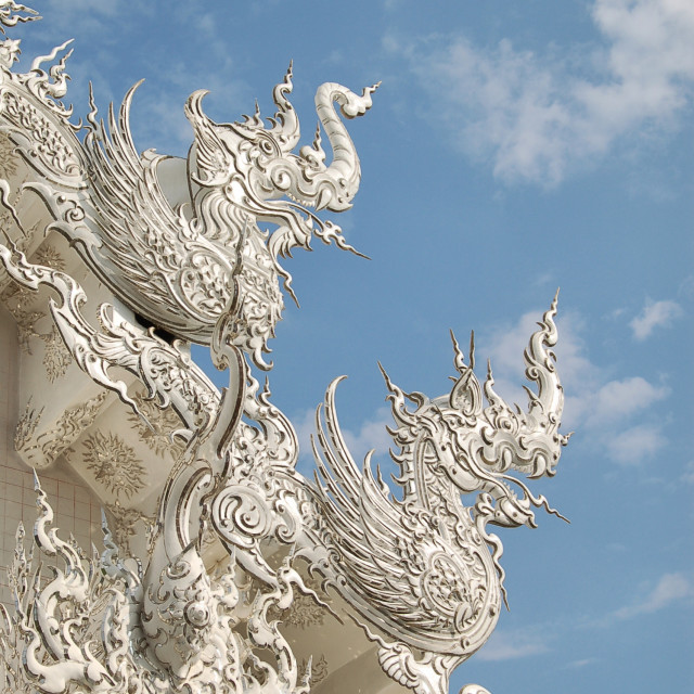 """White temple roof detail"" stock image"