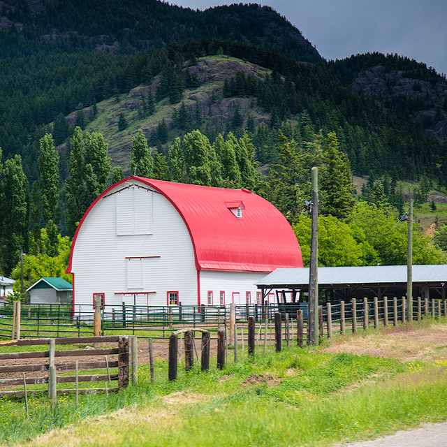 """Red Roofed Barn"" stock image"