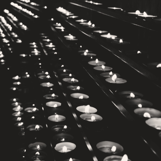 """Burning Candles in Black & White"" stock image"