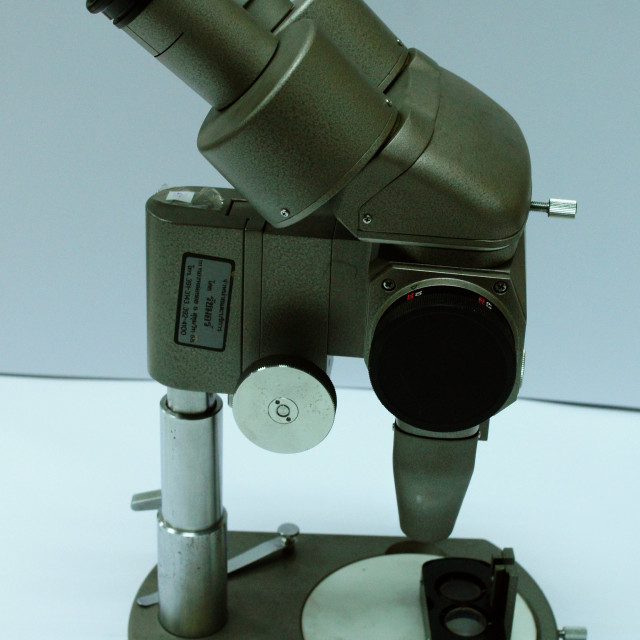 """Old Stereo microscope"" stock image"