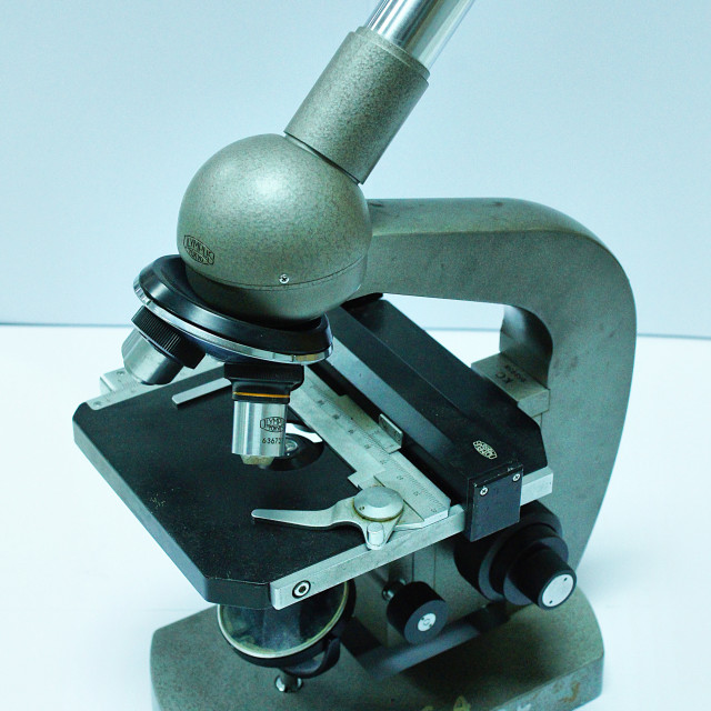 """""""Old compound microscope"""" stock image"""