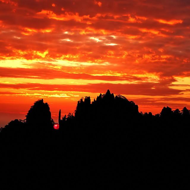 """Sunrise@Yellow Mountain, China"" stock image"