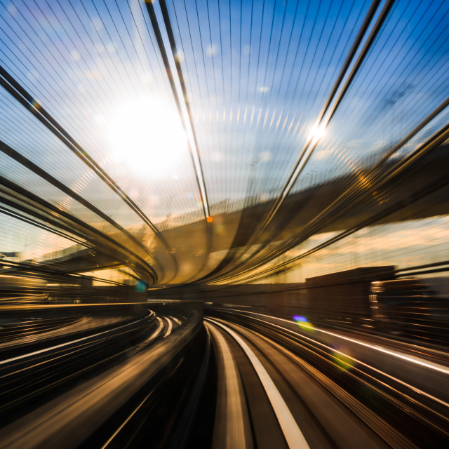 """Motion blur of Japanese mono rail"" stock image"