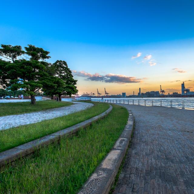 """Odaiba sea port with cranes"" stock image"
