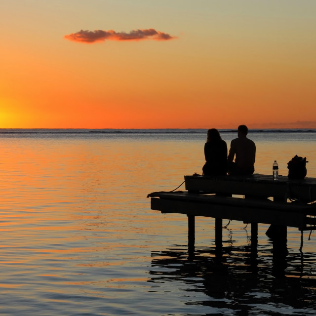 """Sunset in Mauritius"" stock image"
