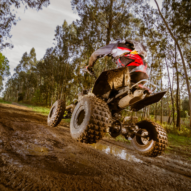 """Quad rider jumping"" stock image"