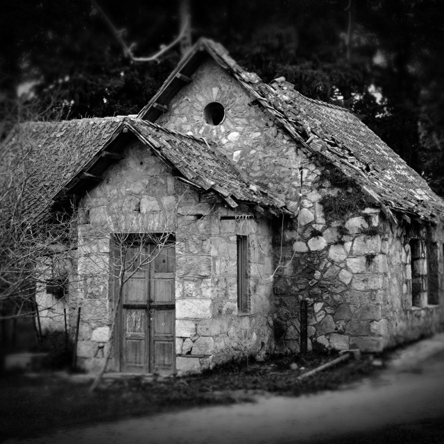 """derelict house in the woods"" stock image"