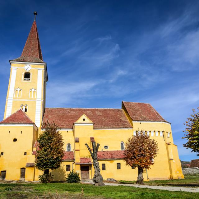 """""""Sura Mare, fortified church, Transylvania in Romania"""" stock image"""