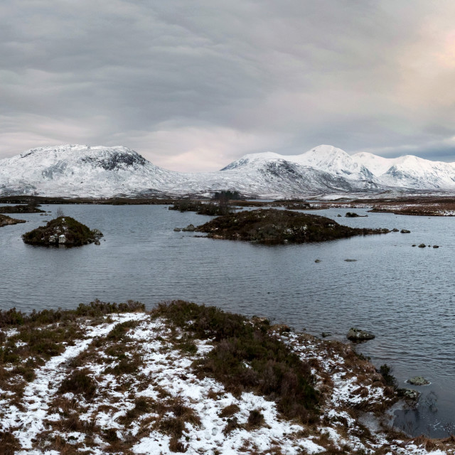 """Winter on Rannoch Moor Panorama"" stock image"