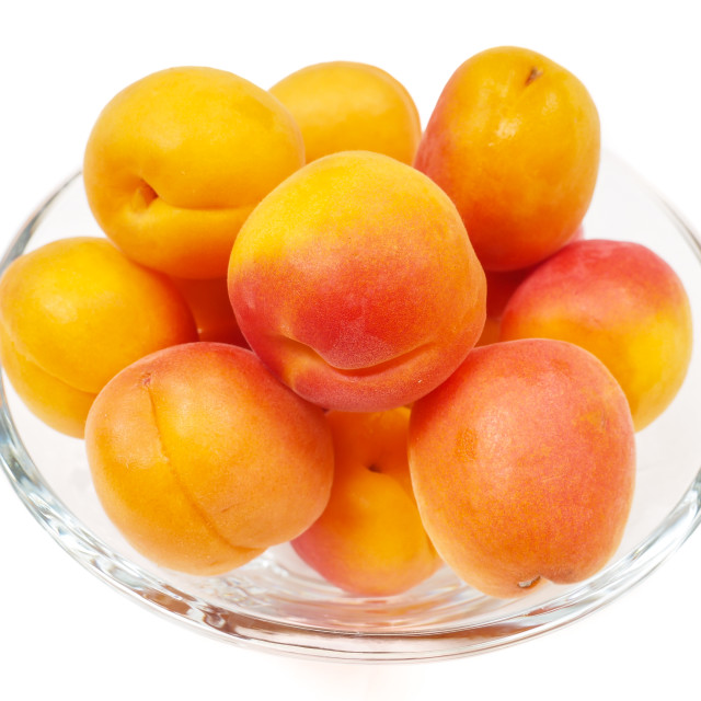 """Apricot in glass bowl"" stock image"