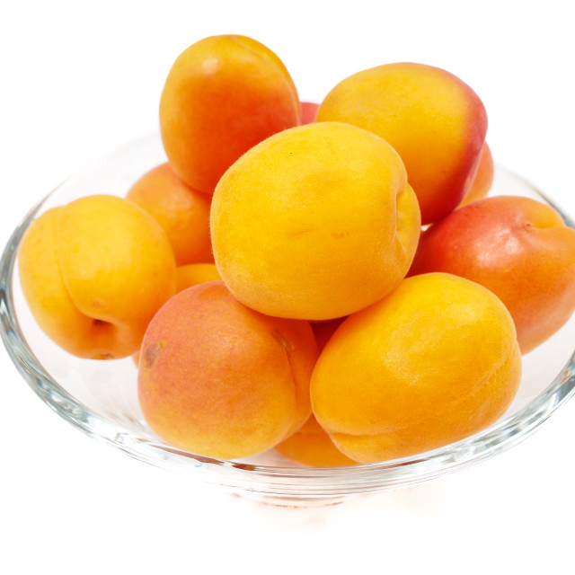 """""""Apricot in glass bowl"""" stock image"""