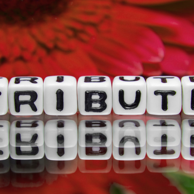 """""""Red tribute text"""" stock image"""