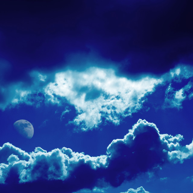 """Clouds and Moon"" stock image"