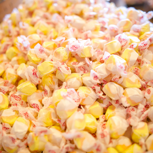 """""""Pile of yellow salt water taffy candy"""" stock image"""