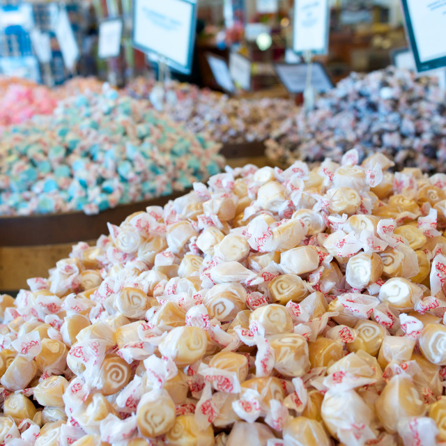 """Assortment of salt water taffy candy"" stock image"