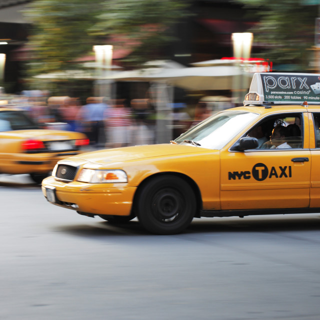 """Yellow New York taxi cab"" stock image"