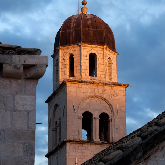 """Tower of the Franciscan Monastery at Sunset"" stock image"