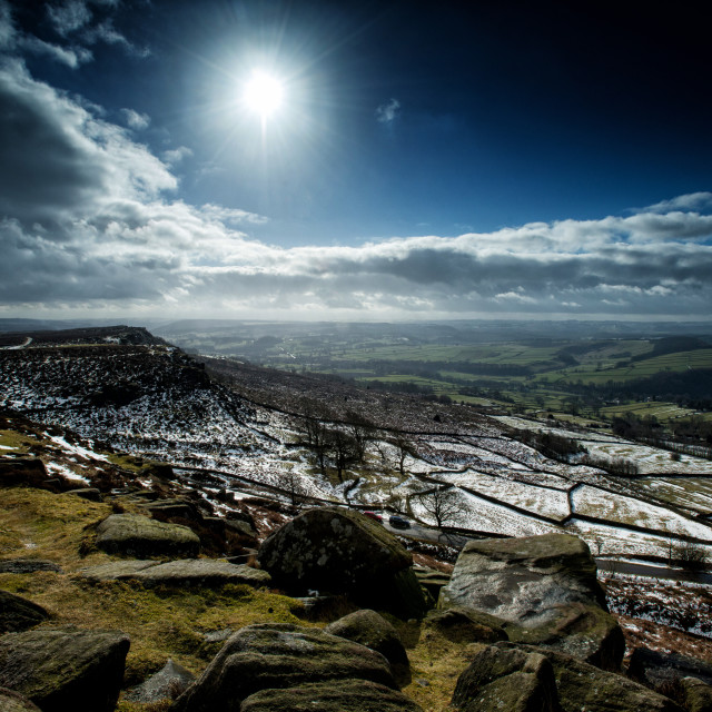 """Sunshine on the Wintery Peak District"" stock image"