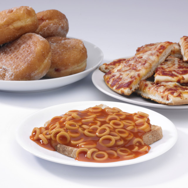 """""""Doughnuts, pizza and hoops"""" stock image"""