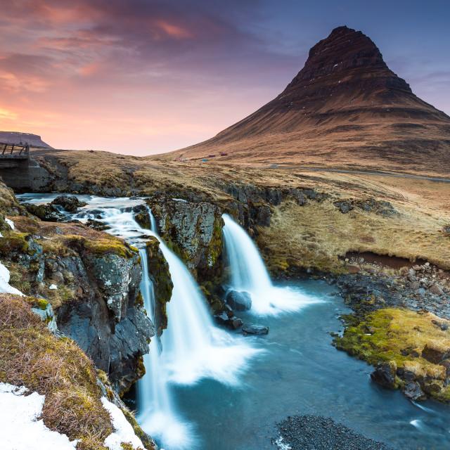 """sunset at Mt. Kirkjufell"" stock image"