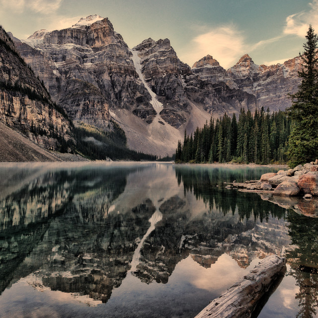 """Vintage Moraine Lake"" stock image"