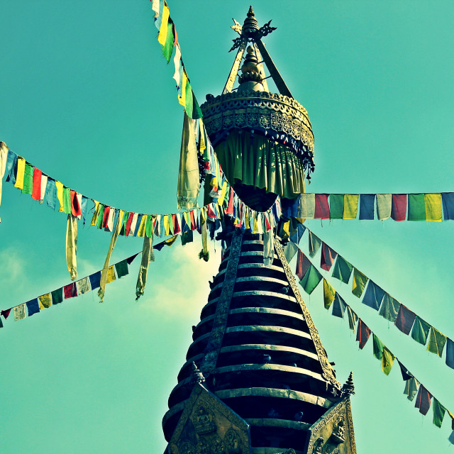 """Prayer flags and Stupa"" stock image"