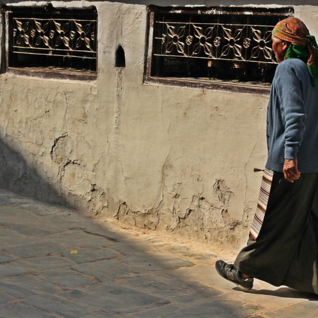 """Boudhanath Pilgrim"" stock image"