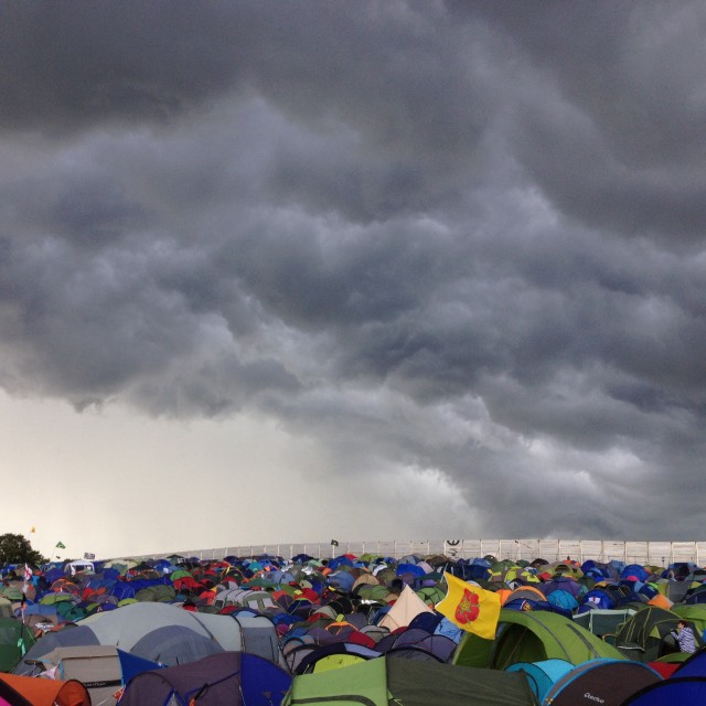 """Storm clouds over Glastonbury"" stock image"