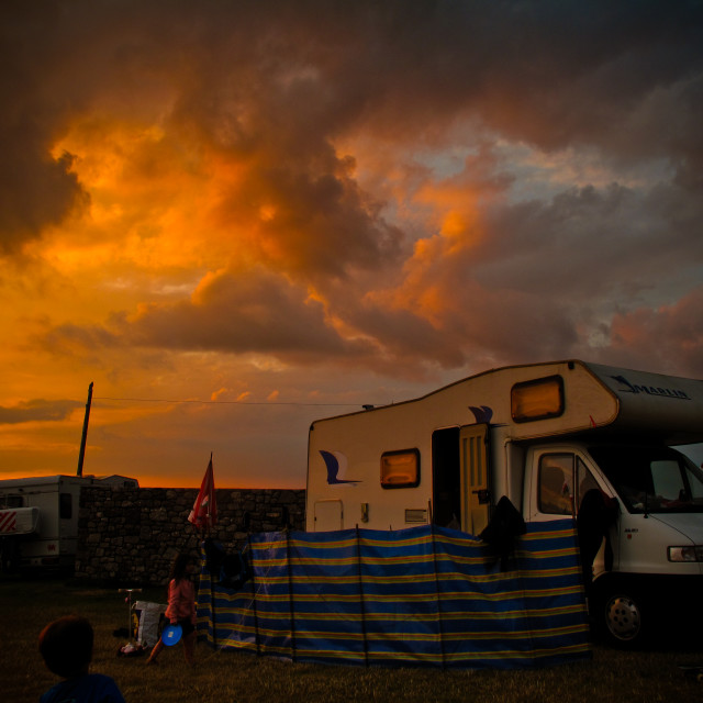 """Dramatic sky at the campsite"" stock image"