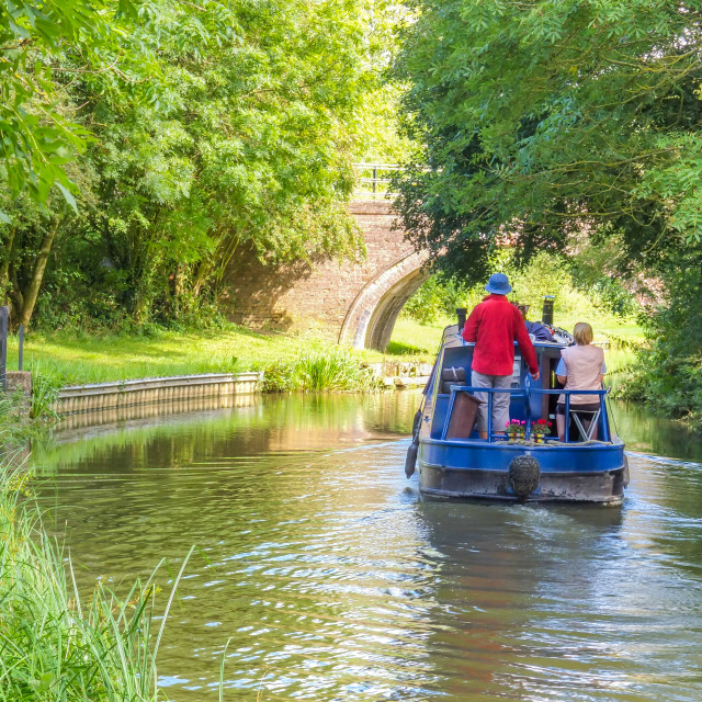 """Canal boat near Foxton Locks"" stock image"