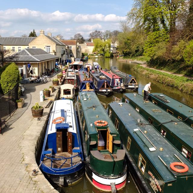 """Canal boats at Bath"" stock image"
