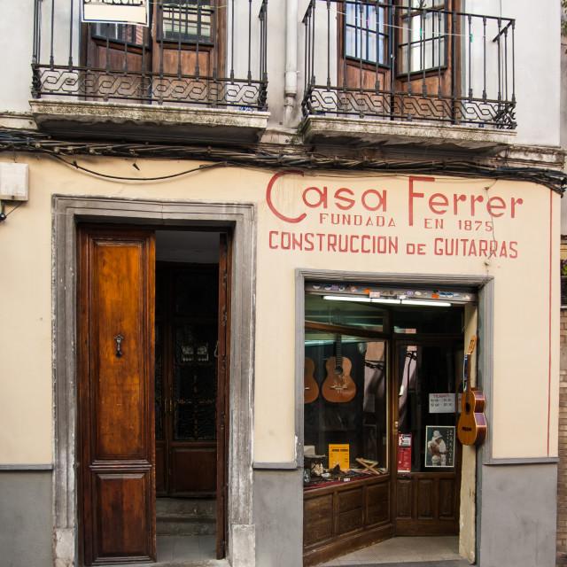 """""""Guitar maker's shop, Seville"""" stock image"""